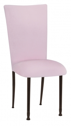 Soft Pink Velvet Chair Cover and Cushion on Mahogany Legs (2)