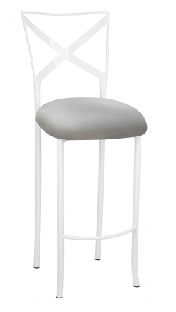 Simply X White Barstool with Silver Stretch Knit Cushion (2)