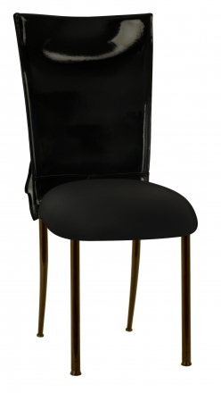 Black Patent Leather Chair Cover with Rhinestone Bow and Black Stretch Knit Cushion on Brown Legs (2)