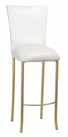 White Leatherette Barstool Cover and Cushion on Gold Legs (2)