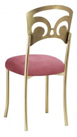 Gold Fleur de Lis with Raspberry Suede Cushion (1)