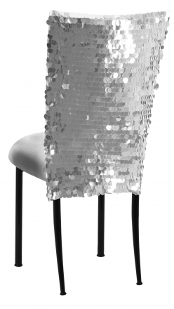Silver Confetti Stretch Knit Chair Cover and Silver Stretch Knit Cushion on Black Legs (1)