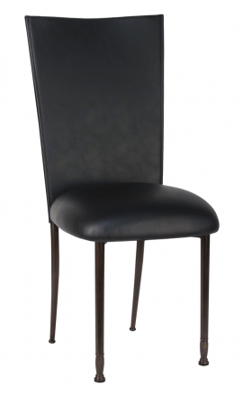 Black Leatherette Chair Cover and Cushion on Mahogany Legs (2)