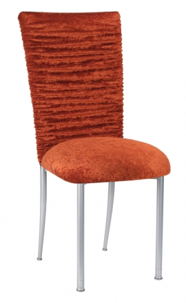 Chloe Paprika Crushed Velvet Chair Cover and Cushion on Silver Legs (2)