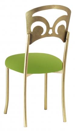 Gold Fleur de Lis with Lime Stretch Knit Cushion (1)