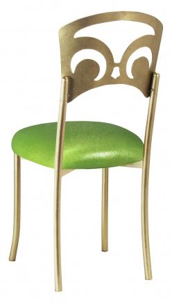 Gold Fleur de Lis with Metallic Lime Stretch Knit Cushion (1)