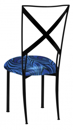 Blak. with Blue and Purple Peacock Stretch Knit Cushion (1)