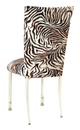 Zebra Stretch Knit Chair Cover and Cushion on Ivory Legs (1)