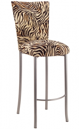 Zebra Stretch Knit Barstool Cover and Cushion Barstool on Silver Legs (2)