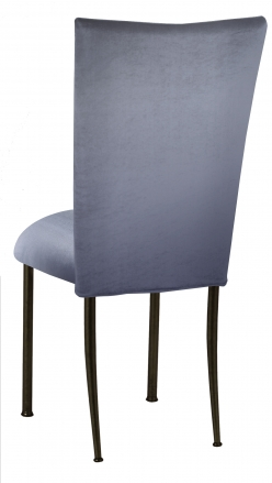 Steel Velvet Chair Cover and Cushion on Brown Legs (1)