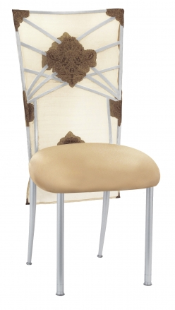 Silver Fanfare with Organza Medallion 3/4 Chair Cover and Toffee Stretch Knit Cushion (2)
