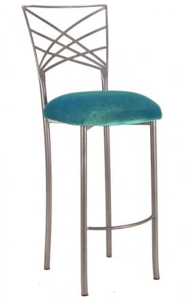 Silver Fanfare Barstool with Turquoise Velvet Cushion (2)