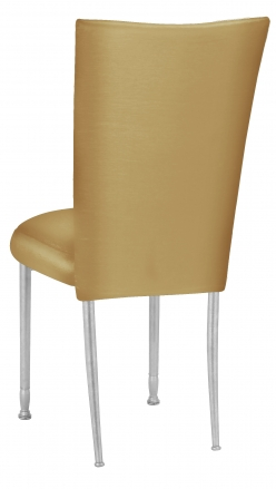 Gold Taffeta Chair Cover with Boxed Cushion on Silver Legs (1)