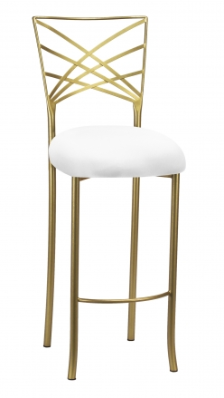 Gold Fanfare Barstool with White Knit Cushion (2)