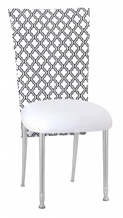 Moderne 3/4 Chair Cover with White Leatherette Cushion on Silver Legs (2)