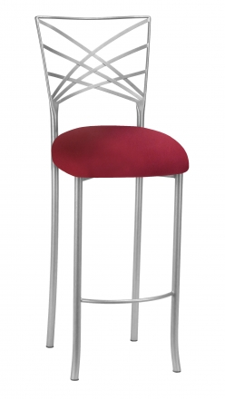 Silver Fanfare Barstool with Cranberry Stretch Knit Cushion (2)