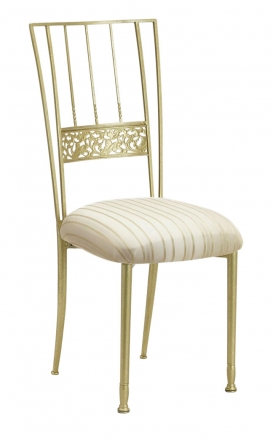 Gold Bella Fleur with Ivory Sateen Stripe Cushion (2)