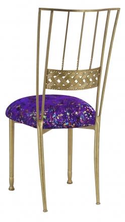 Gold Bella Braid with Purple Paint Splatter Knit Cushion (1)