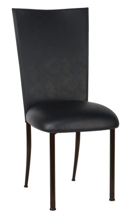 Black Leatherette Chair Cover and Cushion on Brown Legs (2)