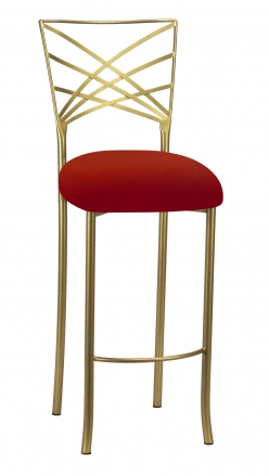 Gold Fanfare Barstool with Red Velvet Cushion (2)