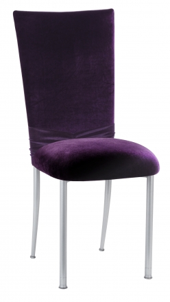 Deep Purple Velvet Chair Cover with Jewel Band and Cushion on Silver Legs (2)