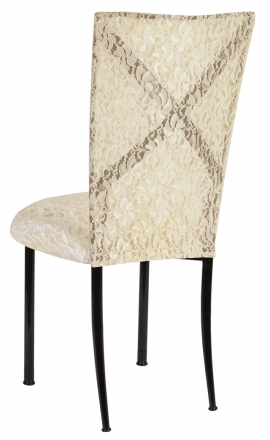 Blak. with Ivory Lace Chair Cover and Ivory Lace over Ivory Stretch Knit Cushion (1)