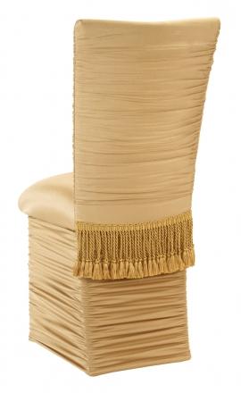 Chloe Gold Stretch Knit Chair Cover with Tassel Belt, Cushion and Skirt (1)