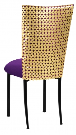 Dragon Eyes Chair Cover with Plum Knit Cushion on Black Legs (1)