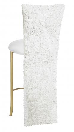 White Wedding Lace Barstool Jacket with White Knit Cushion on Gold Legs (1)