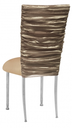 Beige Demure Chair Cover with Beige Stretch Knit Cushion on Silver Legs (1)