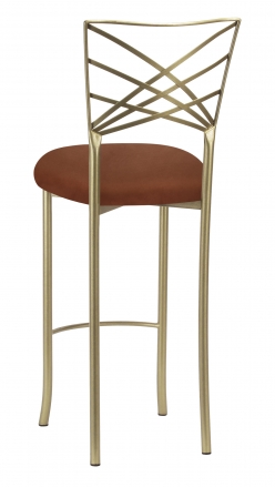 Gold Fanfare Barstool with Cognac Suede Cushion (1)