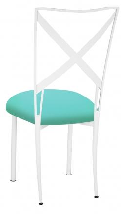 Simply X White with Aqua Stretch Knit Cushion (1)