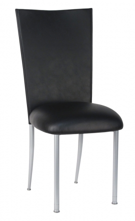 Black Leatherette Chair Cover and Cushion on Silver Legs (2)