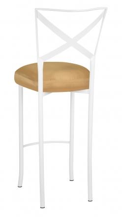 Simply X White Barstool with Gold Taffeta Boxed Cushion (1)