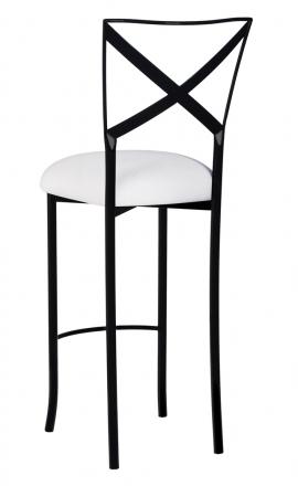 Blak. Barstool with White Stretch Knit Cushion (1)