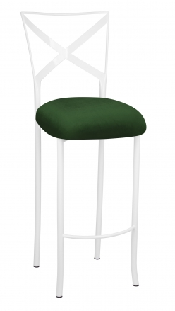 Simply X White Barstool with Green Velvet Cushion (2)