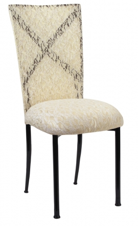 Blak. with Ivory Lace Chair Cover and Ivory Lace over Ivory Stretch Knit Cushion (2)