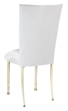 White Croc Chair Cover with White Stretch Knit Cushion on Ivory Legs (1)