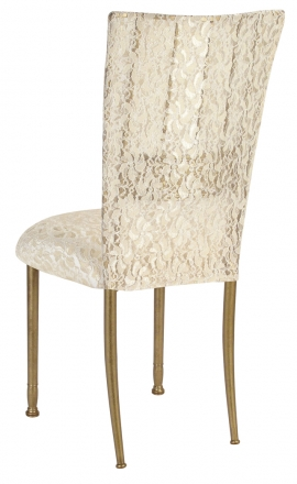 Gold Bella Fleur with Ivory Lace Chair Cover and Ivory Lace over Ivory Stretch Knit Cushion (1)