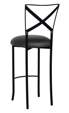 Blak. Barstool with Black Leatherette Cushion (1)