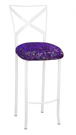 Simply X White Barstool with Purple Paint Splatter Cushion (2)