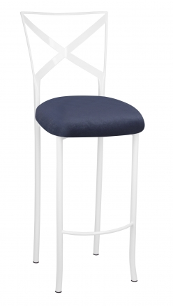 Simply X White Barstool with Steel Velvet Cushion (2)