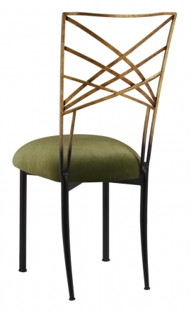 Two Tone Gold Fanfare with Olive Velvet Cushion (1)