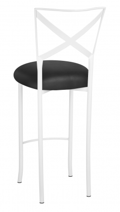 Simply X White Barstool with Black Leatherette Cushion (1)