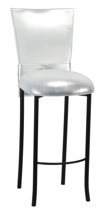 Silver Patent Barstool 3/4 Chair Cover with Rhinestone Accent Belt and Metallic Silver Stretch Knit Cushion on Black Legs (2)