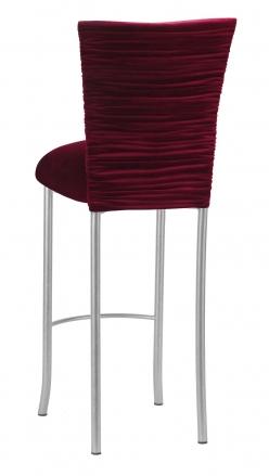 Cranberry Velvet Chloe Barstool Cover and Cushion on Silver Legs (1)