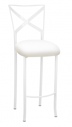 Simply X White Barstool with White Stretch Knit Cushion (2)