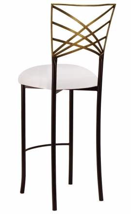 Two Tone Gold Fanfare Barstool with White Stretch Knit Cushion (1)