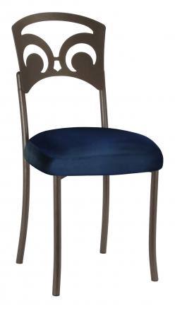 Bronze Fleur de Lis with Midnight Blue Taffeta Boxed Cushion (2)