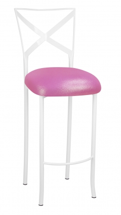 Simply X White Barstool with Pink Glitter Knit Cushion (2)